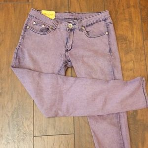 Machine washed purple dyed jegging crop I225:4:719